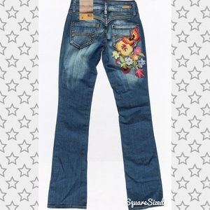 Zana Di Floral Embroidered Straight Leg Jeans
